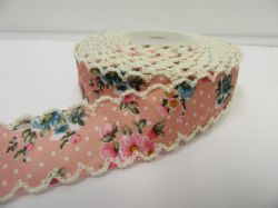 2 metres or 10 metre Roll 25mm Pink Floral Vintage Scalloped Edge Ribbon Cotton